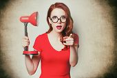 Beautiful Surprised Young Woman With Lamp poster