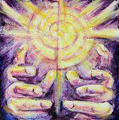 Sun Rays Reiki Healing Hands Painting