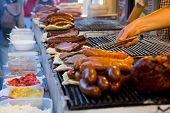 stock photo of barbecue grill  - Meat which fries on the barbecue and salads
