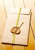 Envelope with sealing wax