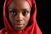 Headshot Beautiful Black African Woman In Hijab