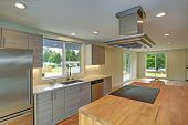 Newly Remodeled Kitchen Boasts Kitchen Island With A Hood. poster