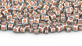 Heap of white bloocks with Bitcoin cryptocurrency symbol. Bitcoin mining concept 3D illustration. poster