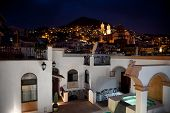 image of taxco  - Taxco main church view at night from the top - JPG