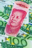 Yuan en Euro bankbiljetten