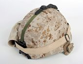 Modern Usmc Lwh Combat Helmet With Full Kit Attached.