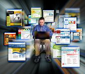 Business Man surf Internet Web Sites