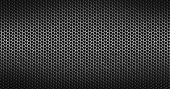 Closeup of holes in black metal textured background poster