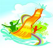 image of chute  - water chute vector illustration of people having fun - JPG