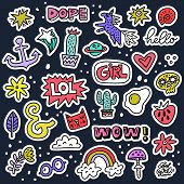 Set of colorful cartoon badges. Vector patch illustration - great for embroidery and fashion.