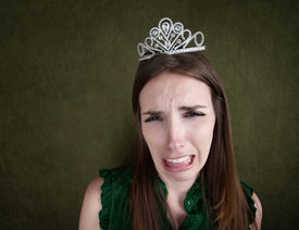 foto of spoiled brat  - Crying young Caucasian woman with a tiara - JPG