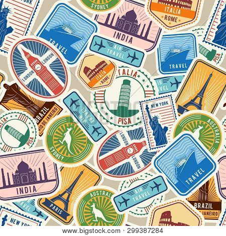 poster of Travel Pattern. Immigration Stamps Stickers With Historical Cultural Objects Travelling Visa Immigra