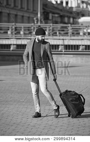 poster of Let Travel Begin. Traveler With Suitcase Arrive To Airport Railway Station. Hipster Ready Enjoy Trav