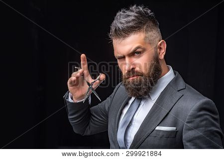 poster of Beard Care. Mature Hipster With Beard. Bearded Man In Formal Business Suit. Brutal Male Hipster Cut