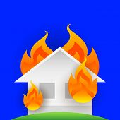 House Fire Burn, Symbol Fire Home Burn, Flame Accident, Illustration Icon Danger Of Flame, House Or  poster