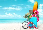 Collage Of Luggage For Travel In Front Of Ocean View. Concept Of Summertime, Resort, Journey, Trip,  poster