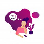 Young Beautiful Woman Thinking About New Message. Vector Flat Modern Trendy Beuty Style Illustration poster