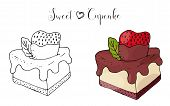 Vector Isolated Cake Or Cupcake, Dessert With Berry poster