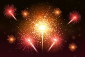 Colorful Fireworks Set. Bright Festive Realistic Vector Fireworks Illustration. New Year Christmas F poster
