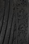 Viking Ship With Scandinavian Patterns, Close Up. Ancient Viking Pattern On A Wooden Warship. Wooden poster