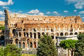 Colosseum Or Coliseum Close-up, Rome, Italy. It Is A Top Landmark Of Rome. Scenic View Of Ancient Ro poster