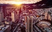 Panoramic Aerial View Of Downtown Bogota Colombia On A Beautiful Golden Sunset. poster