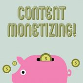 Text Sign Showing Content Monetizing. Conceptual Photo Making Money From Content That Exists On Your poster