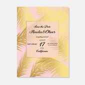 Minimalist Botanical Wedding Invitation Card Template Design. Vector Decorative Greeting Card Or Inv poster