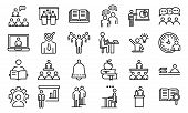 Lecture Class Icons Set. Outline Set Of Lecture Class Vector Icons For Web Design Isolated On White  poster