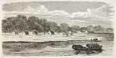 Breves old view, Brazil. Created by Riou, published on Le Tour du Monde, Paris, 1867