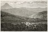 Koe plain old view, near Noumea, New Caledonia. Created by Moynet after photo of unknown author, published on Le Tour Du Monde, Paris, 1867