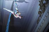 Speech Gymnasts On The Canvases. Girl On Acrobatic Canvases.dangerous Circus Tricks.aerial Gymnast poster