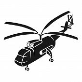 Large Transport Helicopter Icon. Simple Illustration Of Large Transport Helicopter Icon For Web Desi poster