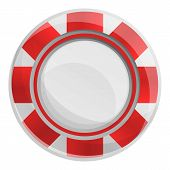 Red Striped Casino Chips Icon. Cartoon Of Red Striped Casino Chips Icon For Web Design Isolated On W poster