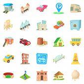Vast City Icons Set. Cartoon Set Of 25 Vast City Icons For Web Isolated On White Background poster