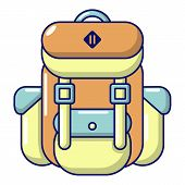 Backpack Tourism Icon. Cartoon Illustration Of Backpack Tourism Icon For Web poster