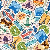 Travel Pattern. Immigration Stamps Stickers With Historical Cultural Objects Travelling Visa Immigra poster