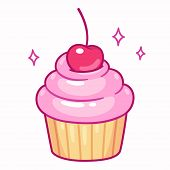 Cute Cupcake With Pink Frosting And Cherry, Cartoon Drawing. Isolated Vector Illustration. poster