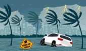 Tornado Hurricane Florence, Emerging From The Ocean. Flooding The City And Cars. Car Accident. A Tro poster