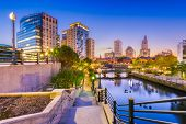 Providence, Rhode Island, USA park and skyline at dawn. poster