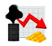 Crude Oil With Falling Graph And Gold Bar Symbol Red Arrow Isolated On White Background, Black Crude poster