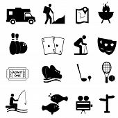 stock photo of ski boat  - Leisure and fun activities icon set in black - JPG