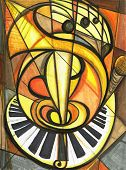 pic of musical instruments  - Fine art of music artwork cubist ensemble of instruments - JPG