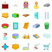 Large Warehouse Icons Set. Cartoon Set Of 25 Large Warehouse Icons For Web Isolated On White Backgro poster