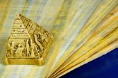 Papyrus Ancient Egyptian Canvas, Writing Material And Pyramid. Papyrus - Canvas For Crafts, Abstract poster