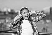 Sing Happiness. Happy Child Wear Headphones. Little Music Fan. Happy Little Girl. Little Girl Listen poster