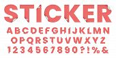 Sticker Font. Sticky Paper Alphabet Letters, Stylized Notepad Stickers Lettering And 3d Fonts Label  poster