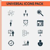 Management Icons Set With Statistic Research, Connection Network, Time Management And Other Special  poster