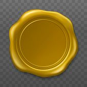 Golden Wax Seal. Sealing Wax Old Realistic Stamp Label On Transparent Background. Top View. Empty Go poster