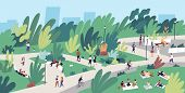 Landscape With People Walking, Playing, Riding Bicycle At City Park. Urban Recreation Area With Men  poster
